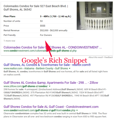 "Rich snippet generated for the search phrase ""gulf shores condos for sale"""